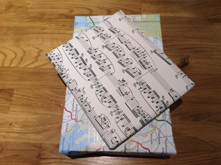 Sheet music used as gift wrap to reduce waste