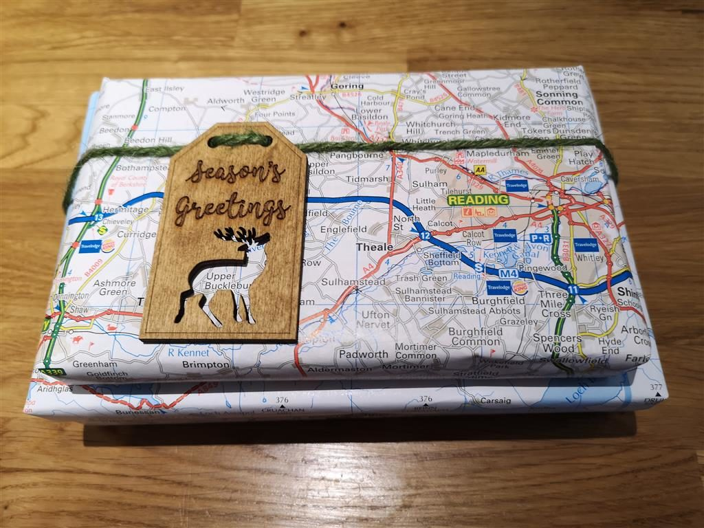 Map gift wrap and keepsake wooden tag